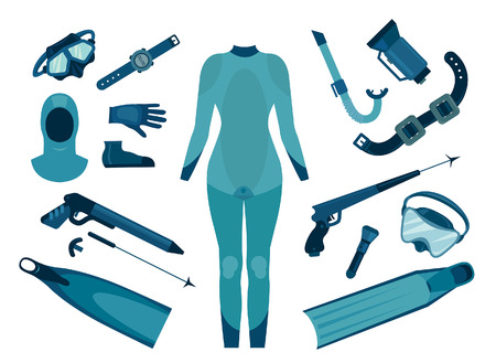 Set of isolated spearfishing equipment for female. Vector illustration. Underwater hunter. Illustration