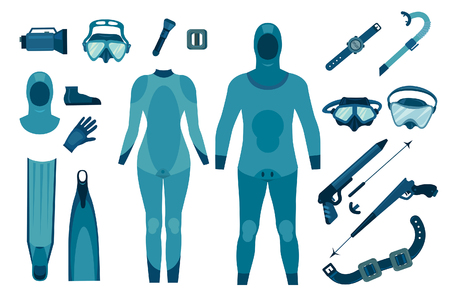 Set of isolated spearfishing equipment on a white background. Vector illustration. Underwater hunter.