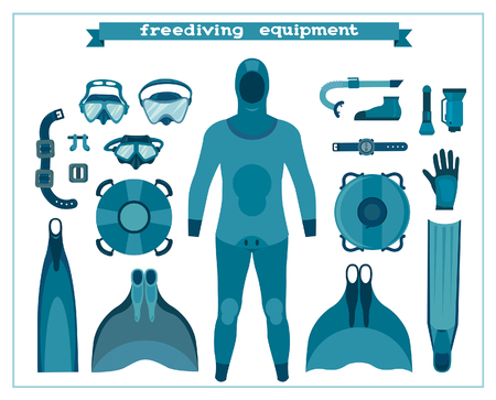 Set of isolated freediving equipment on a white background. Vector illustration. Underwater sport.