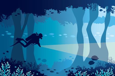 Silhouet van scuba-duiker met lantaarn, koraalrif met school van vissen en onderwatergrot op een blauwe overzees. Vector natuur illustratie. Stock Illustratie
