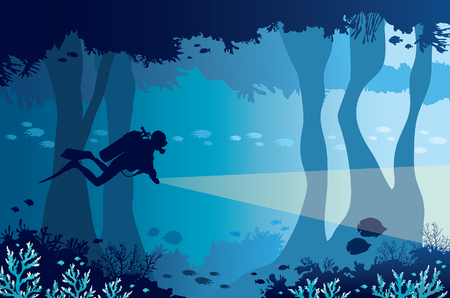 Silhouette of scuba diver with lantern, coral reef with school of fish and underwater cave on a blue sea. Vector nature illustration.