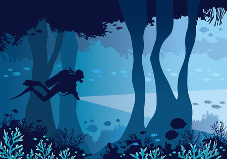 school: Underwater cave with coral reef, school of fishes and silhouette of scuba diver on a blue sea background. Vector nature illustration.