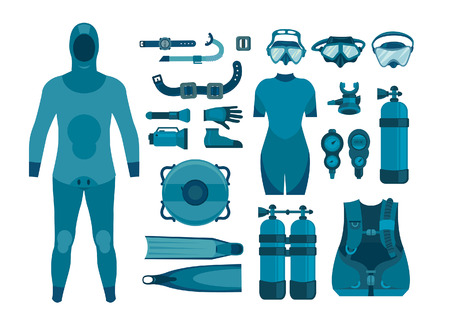 Set of scuba diving equipment on a white background. Vector illustration. Underwater sport.