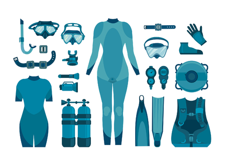 Collection of scuba diving on a white background. Vector illustration. Underwater sport.