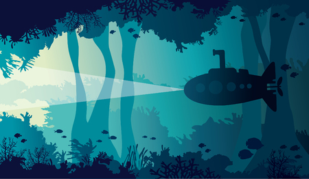 Silhouette of cartoon submarine Illustration