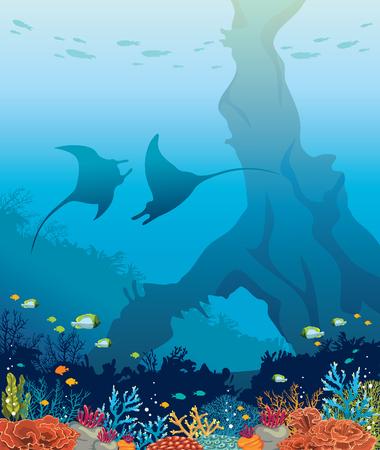 海底海洋生物。2 つのマンタ、カラフルなサンゴ礁と青い海の水中アーチのシルエット。自然海のベクター イラストです。