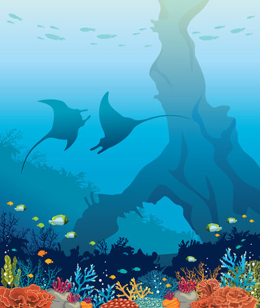 Undersea marine life. Silhouette of two mantas, colorful coral reef and underwater arch on a blue sea. Nature ocean vector illustration. Иллюстрация