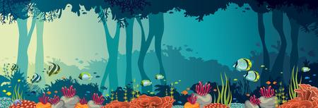 물고기와 바다 배경에 수 중 동굴의 학교와 다채로운 산호초. 자연 파노라마 벡터 일러스트 레이 션. 바다 야생 동물. 일러스트