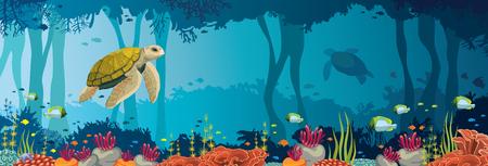 ? Ó? Ty? Ó? W, kolorowe Rafa koralowa, ryby i podwodne jaskini na niebieskim morzu. Ocean przyrody. Natura panoramiczny ilustracji wektorowych.
