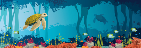 Yellow turtle, colorful coral reef, fishes and underwater cave on a blue sea. Ocean wildlife. Nature panoramic vector illustration. Zdjęcie Seryjne - 86634736