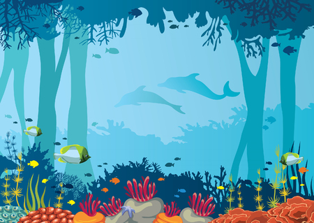 Vector coral reef, school of fishes, underwater cave and silhouette of two dolphins on a blue sea. Nature vector illustration with ocean wildlife. Illustration