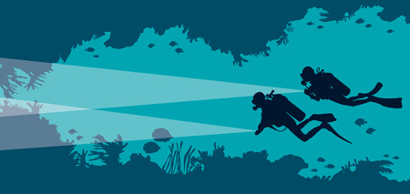 Silhouette of two scuba divers and underwater cave with fishes and corals on a blue sea bakground. Vector ocean illustration. Marine wildlife and water sport.