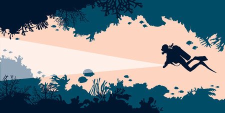 Silhouet van scuba-duiker en onderwaterhol met koralen en vissen. Vector illustratie. Zee dieren in het wild. Stock Illustratie