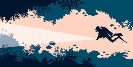 Sylwetka nurka i podwodna jaskinia z koralowcami i rybami. Ilustracji wektorowych. Morze dzikich zwierząt.