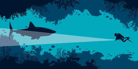 水中のサンゴの洞窟魚とダイバーと青い海に大きなサメのシルエット。ベクトルの海底図。海洋野生動物。