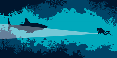 Underwater coral cave with fishes and silhouette of scuba diver and big shark on a blue ocean. Vector undersea illustration. Marine wildlife.