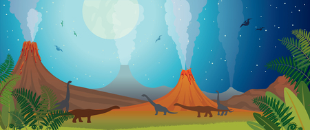 Prehistoric nature panorama. Active volcanoes, green fern and silhouette of dinosaurs on a night starry sky with full moon. Vector illustration. Illustration