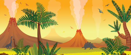Prehistoric nature panorama. Active volcanoes, green fern and trees, silhouette of dinosaurs on a yellow sky. Vector illustration with extinct animals.