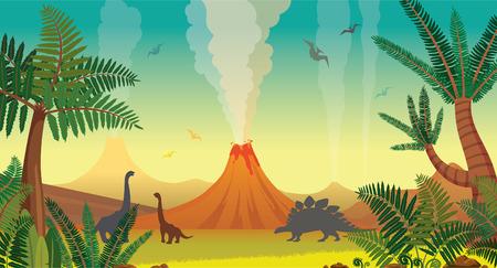 Vulcões ativos com lava, samambaias verdes e árvores, silhueta dos dinossauros em um céu azul. Ilustração pré-histórica com animais extintos. Paisagem de natureza vetorial.