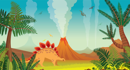 Active volcanoes with lava, green plants and dinosaurs on a blue sky background. Prehistoric nature landscape. Cartoon vector illustration.