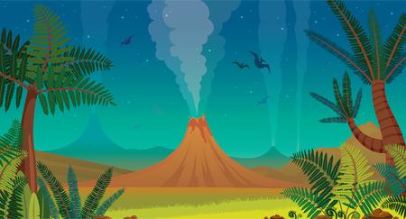 Prehistorisch landschap met actieve vulkanen, groene varens, silhouet van pterodactyl en nachtblauwe lucht. Vector natuur illustratie.