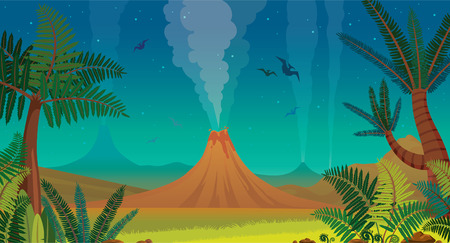 Prehistoric landscape with active volcanoes, green ferns, silhouette of pterodactyl and night blue sky. Vector nature illustration.