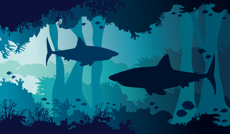 Underwater nature and marine wildlife. Silhouette of big sharks, coral cave and tropical fishes in a blue sea background. Vector illustration.
