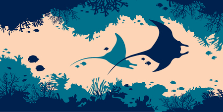 Underwater nature and marine wildlife. Silhouette of two stingrays, coral cave and tropical fishes in a sea. Vector illustration.