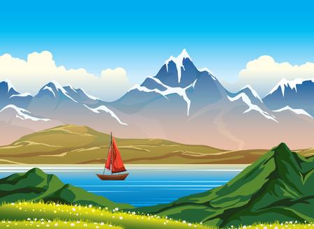 snowy hill: Wooden sailboat and blue calm lake, snowy mountains and green grass with flowers on a blue sky. Summer vector landscape. Nature illustration.