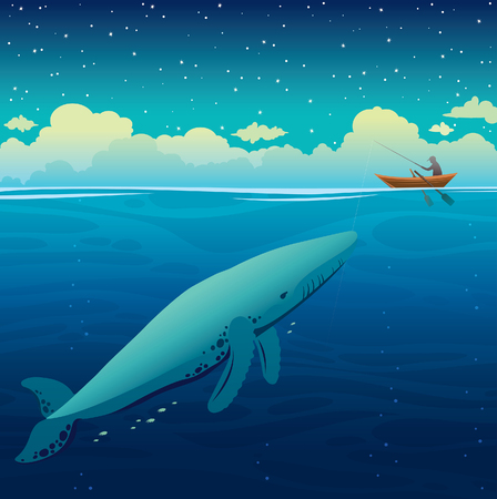 Seascape and night starry sky. Vector illustration with fisherman and wooden boat above the big blue whale on a calm ocean. Illustration