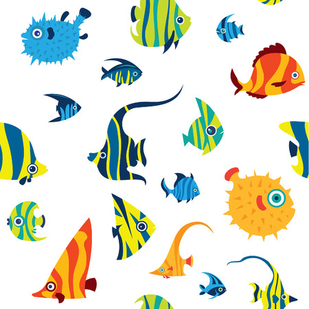 Vector seamless pattern with color reef fish on a white background. Cartoon wallpaper with tropical fish - angelfish; balloonfish; treegerfish; moorish idol; butterfly fish, pufferfish. Ilustração