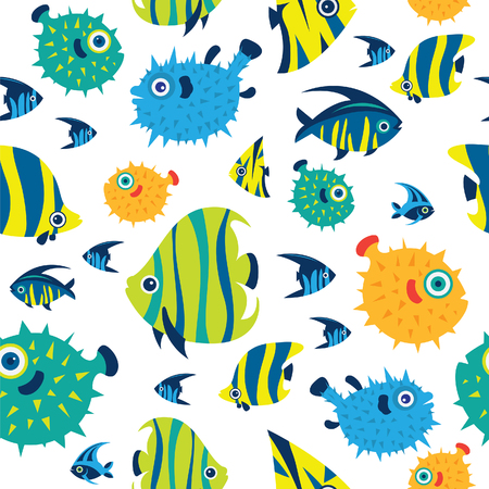 Cartoon wallpaper with tropical fish - angelfish; balloon fish; treegerfish; moorish idol; butterfly fish. Vector seamless pattern with color reef fish on a white background.