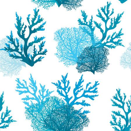 Modèle sans couture de vecteur avec la barrière de corail bleu sur fond blanc. Papier peint sous l'eau. Vecteurs