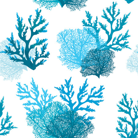 Vector seamless pattern with blue coral reef on a white background. Underwater wallpaper. Illustration