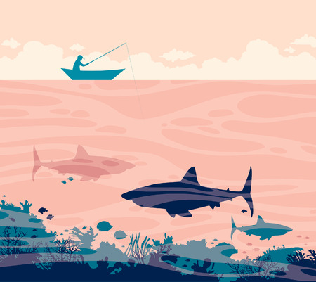 Silhouette of fisherman in the boat and three big sharks on a sea. Vector tropical illustration with ocean underwater creatures and angler.