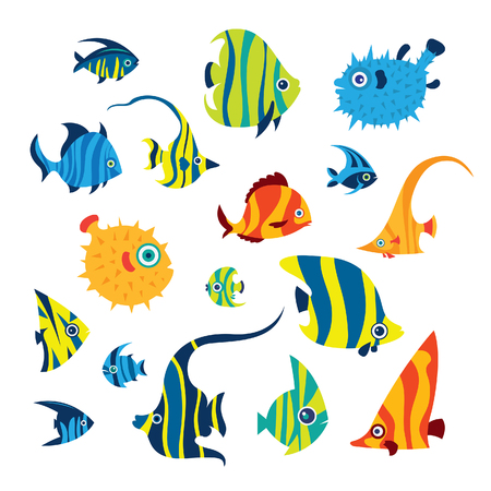 Collection of cartoon reef fish - angelfish, treegerfish, moorish idol, butterfly fish, balloon fish. Doodle vector illustration. Set of isolated tropical fish on a white background. Ilustração
