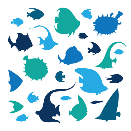 A Vector set of reef fish on a white background. Silhouette of tropical fish - angelfish, treegerfish, moorish idol, butterfly-fish, balloon fish, pufferfish.