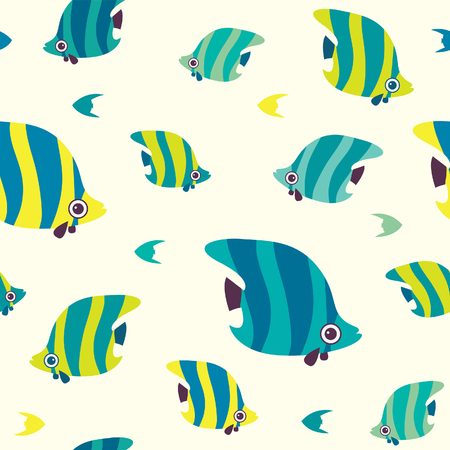 Cartoon seamless pattern with butterfly fish. Vector wallpeper with reef fish. Illustration