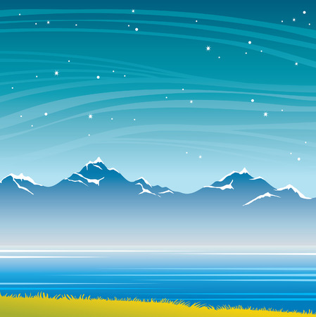 Summer night landscape with blue mountains, calm lake, green grass and starry sky. Vector nature illustration.  Illustration