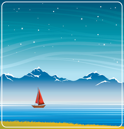 Night landscape with sailboat, calm lake, mountains and starry sky. Summer vector illustration. Illustration