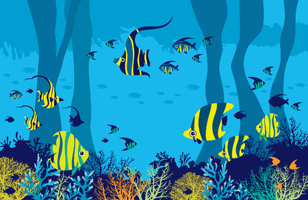 Vector illustration with underwater cave, coral reef and school of fishes on a blue sea background.  Ilustração