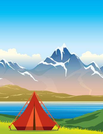 Red tourist tent, green grass, calm lake and mountains on a blue sky. Summer nature landscape. Vector illustration. Illustration