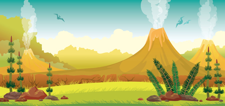 Prehistoric nature - extinct green plants, yellow grass, active smoking volcanoes and silhouette of pterodactyls on a blue sky. Vector illustration. Vettoriali