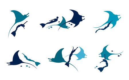 Vektorsatz mit Schattenbild des Freitauchers, der Mantas und der Fische auf einem weißen Hintergrund.