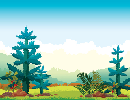 Wild nature - Green grass, firs, forest and fern on a blue cloudy sky. Summer landscape. Vector illustration. Ilustração