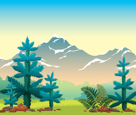 Summer landscape with blue firs, green grass, fern and snowy mountains on a sunrise sky. Vector illustration. Wild nature. Ilustração