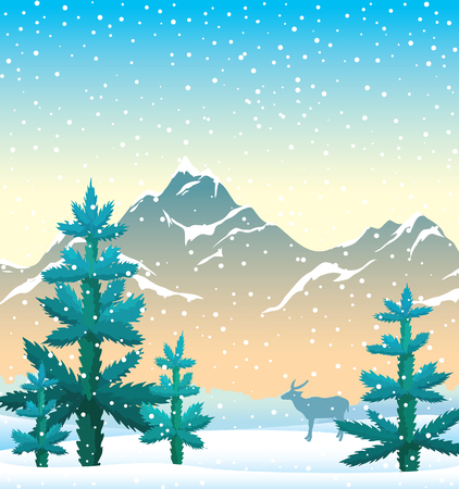 Winter landscape with blue firs, snowy mountains and silhouette of deer on a sunrise sky background. Vector nature winter illustration. Season image.