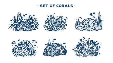 Unterwasser stellte Korallenriff mit Fischen und Algen auf einer weißen Hintergrundvektorillustration ein.