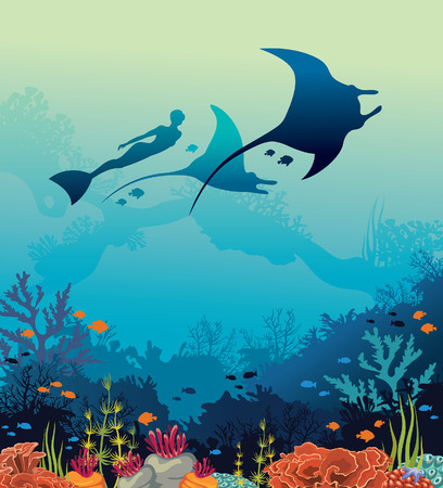 Silhouette of mantas, free diver and coral reef on a blue sea background. Vector illustration with marine life. Underwater seascape image.