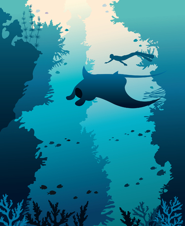 Silhouette of manta, free diver and corals on a blue sea background. Vector illustration with marine life. Underwater seascape image.. Illustration